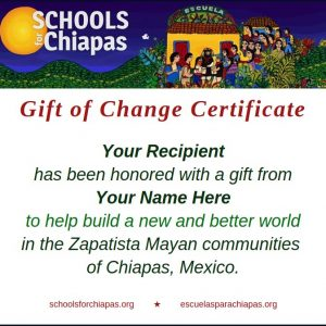 Gift of Change certificate