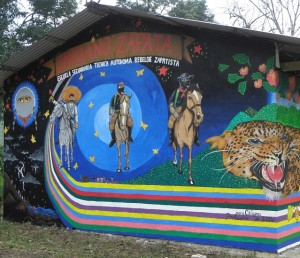 Zapatista school mural la monta a chiapas mexico for Mural zapatista