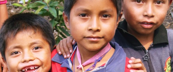 Zapatista students outside of their community-run school in the tropical lowlands of Chiapas,  Mexico.